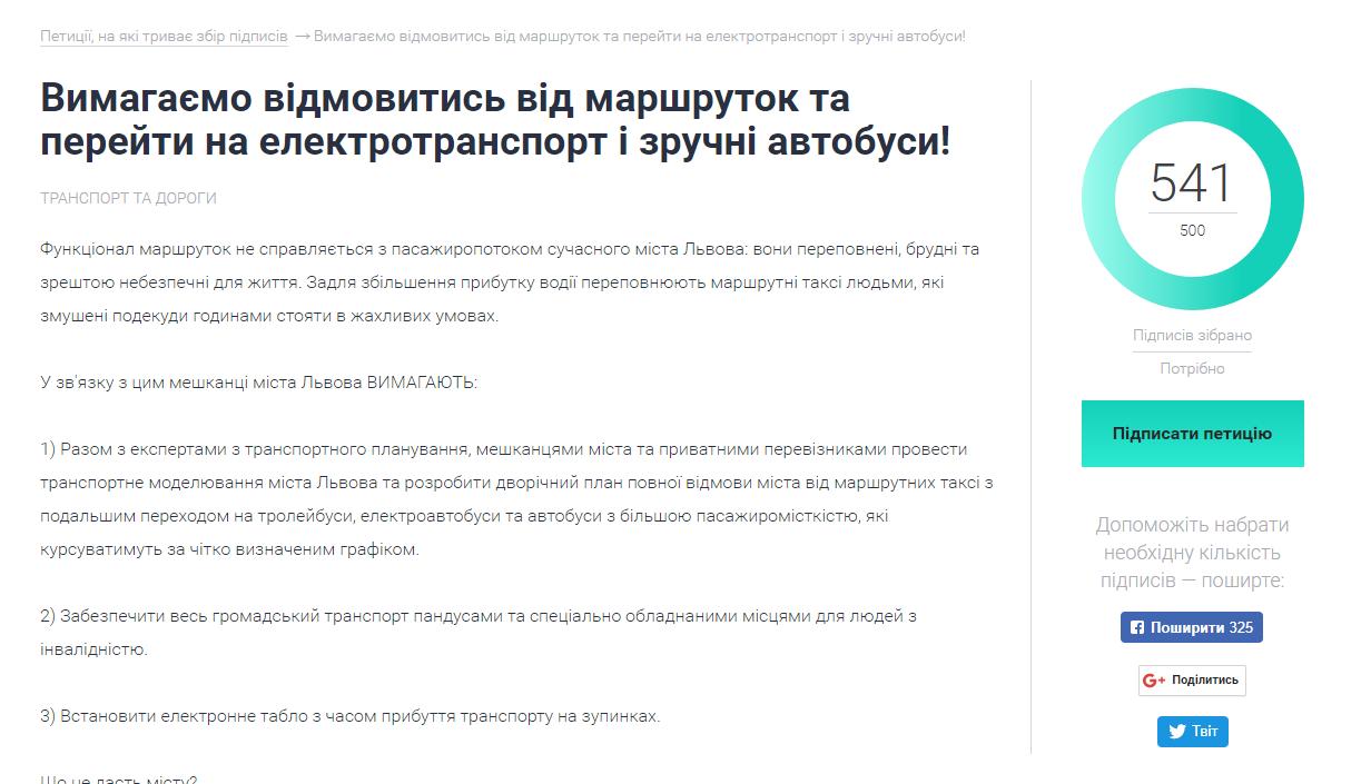 Скріншот петиції