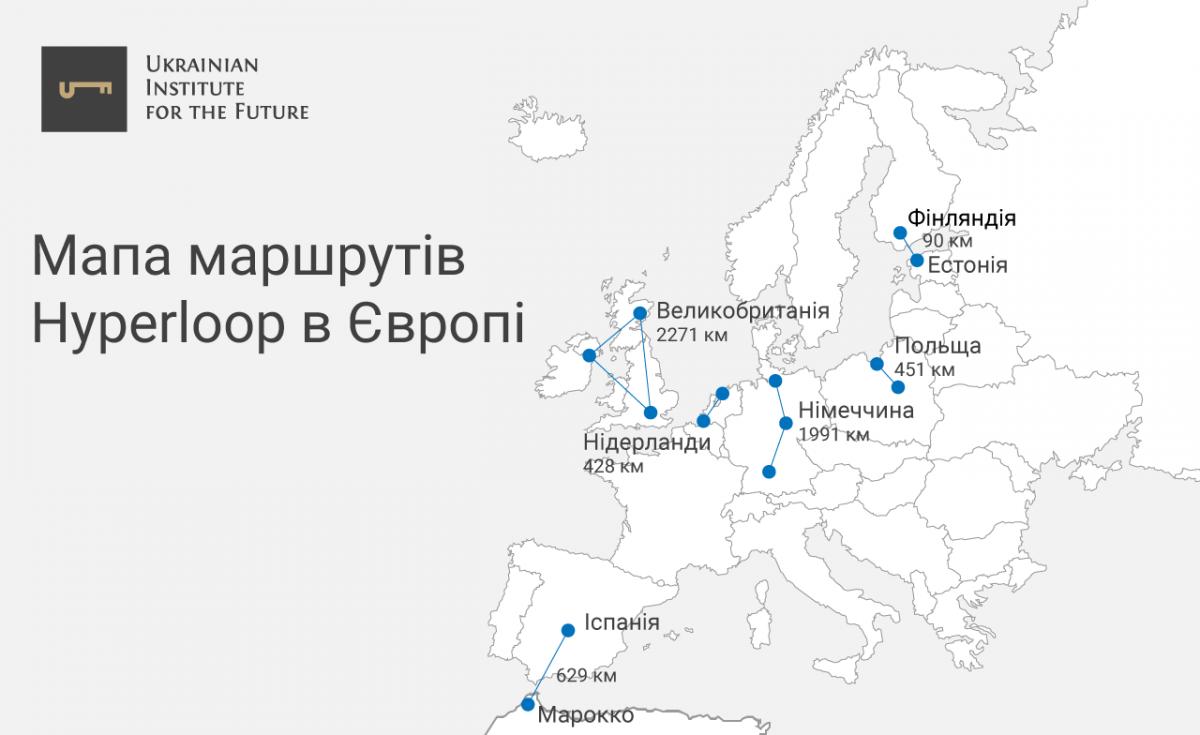 Мапа маршрутів Hyperloop в Європі
