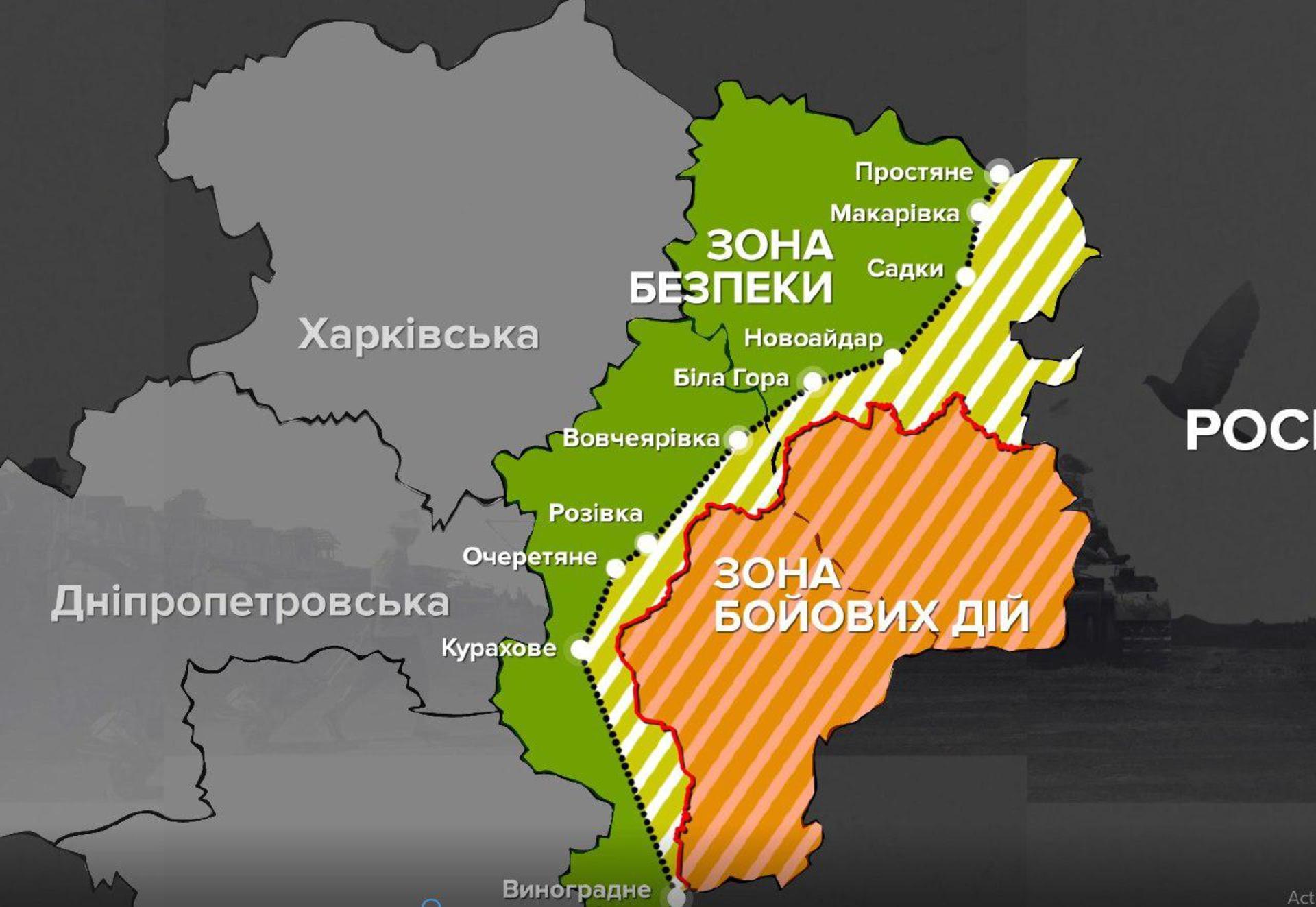 Карта операції Об'єднаних сил станом на 30 квітня 2018 року