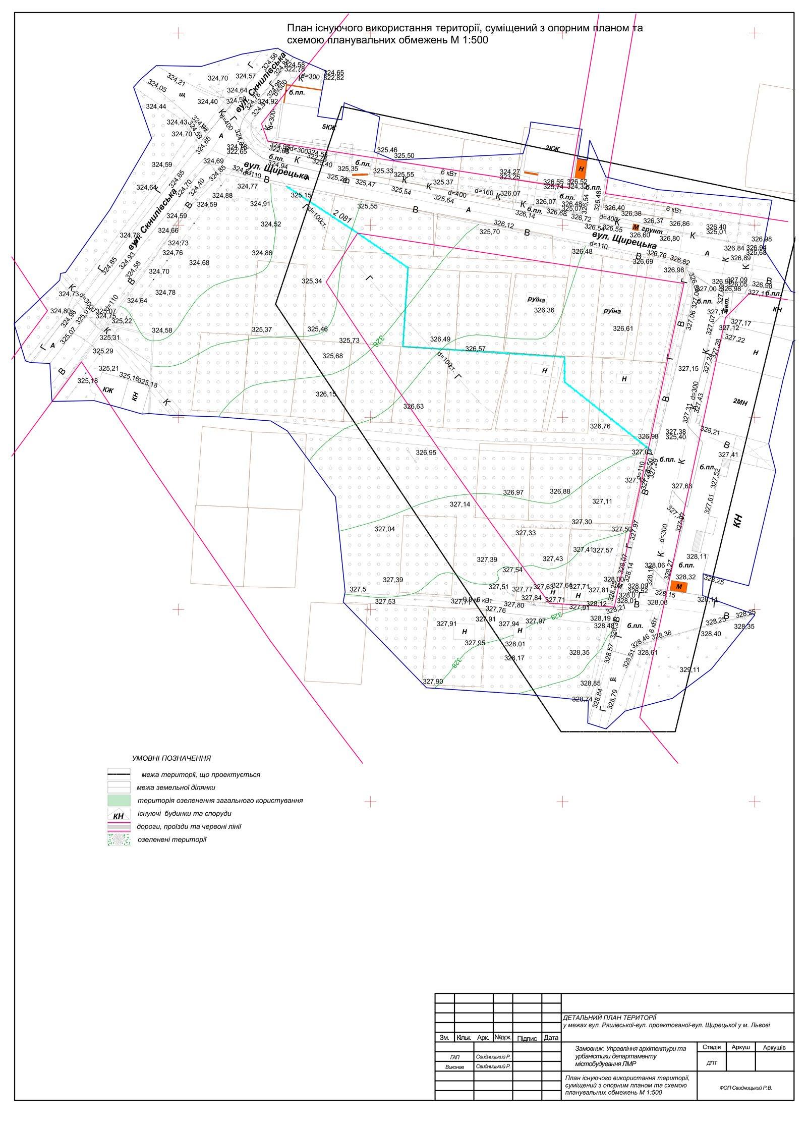 План існуючого використання, опорний план та схема планувальних обмежень
