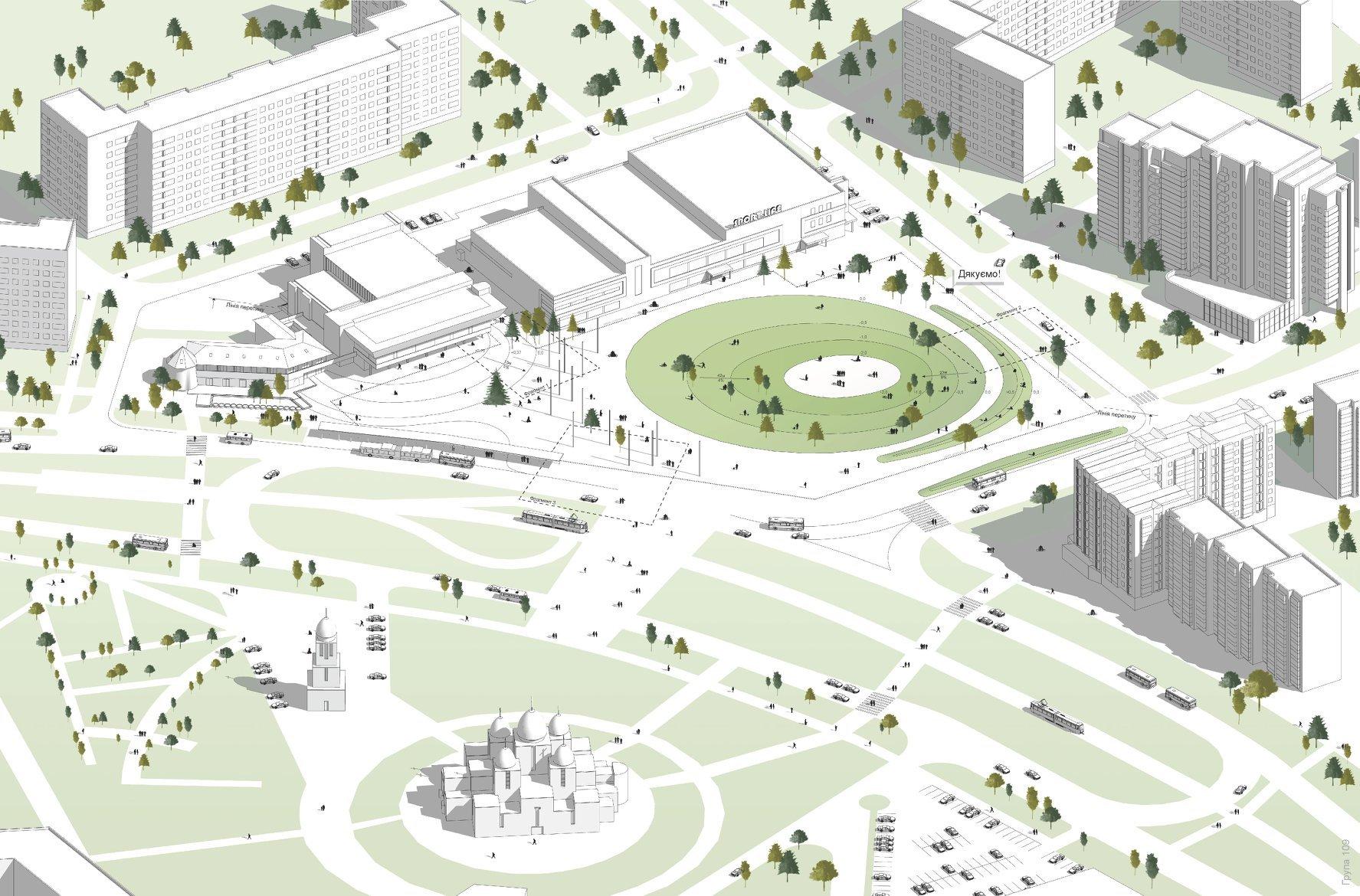 Візуалізація проекту оновленої площи перед кіноцентром Довженка