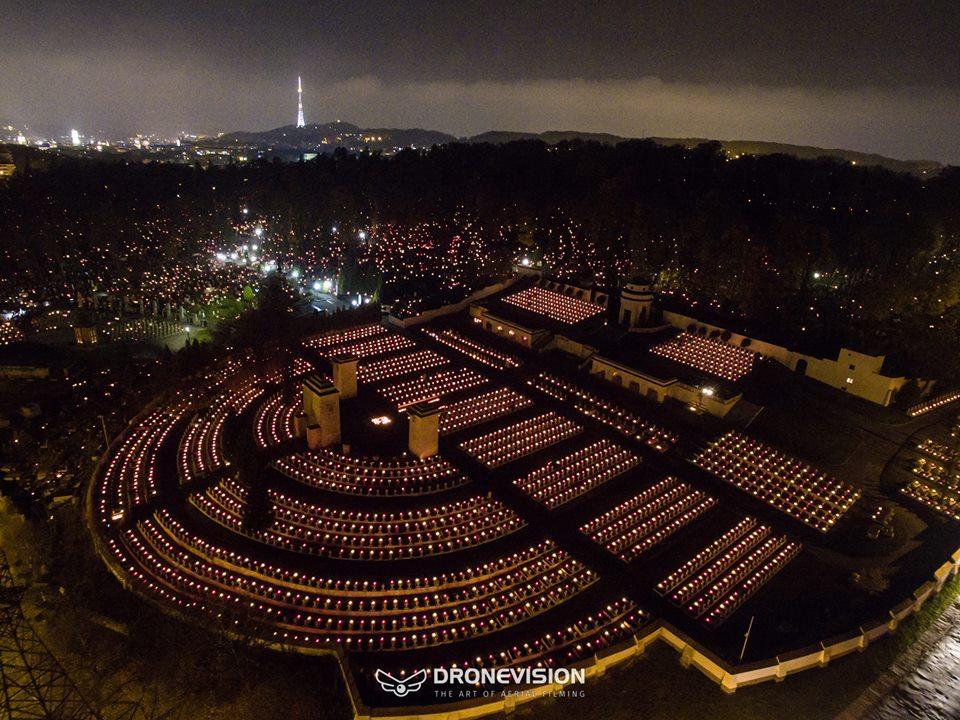 Личаківський цвинтар у День всіх святих з висоти