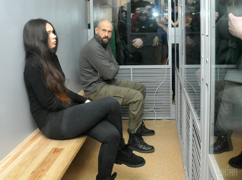 Засуджені Олена Зайцева та Геннадій Дронов під час судового засідання у Київському районному суді Харкова, 26 лютого 2019 року