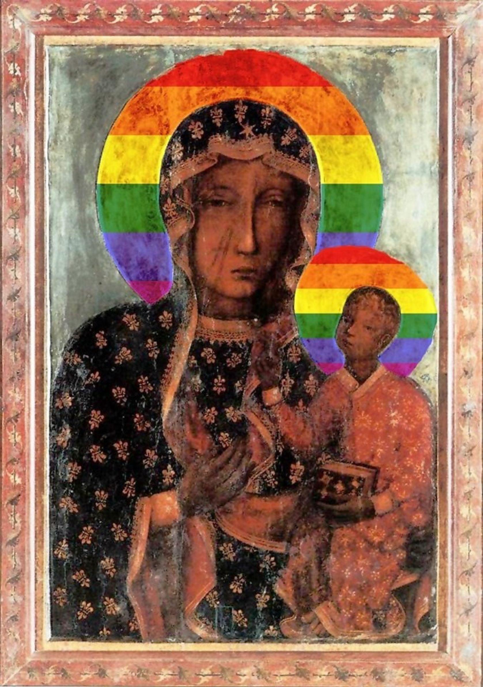 Діва Марія з німбом в кольорах прапора ЛГБТ