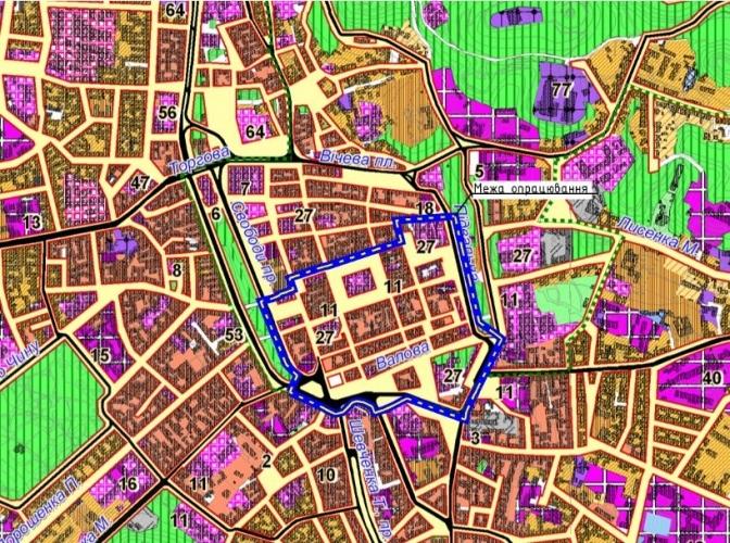 ДПТ на генеральному плані Львова (виділений синім)