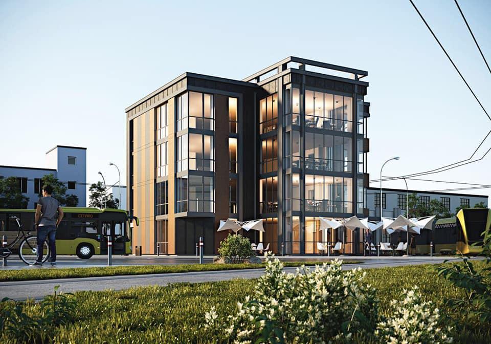 Візуалізація нової будівлі на площі Двірцевій